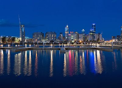 cityscapes, skylines, night, architecture, buildings, reflections - related desktop wallpaper