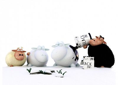 3D view, black, white, animals, funny, sheep, digital art - related desktop wallpaper