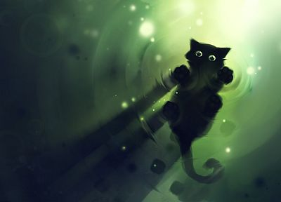 green, cats, DeviantART, artwork, kittens, Apofiss, simple - related desktop wallpaper