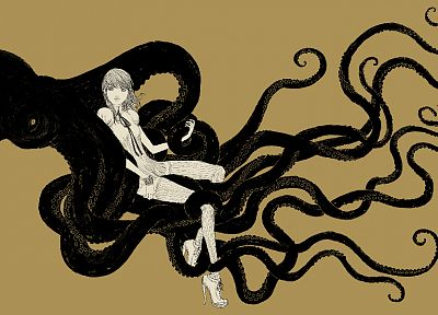 women, octopuses, artwork, somefield, Barnaby Ward - desktop wallpaper
