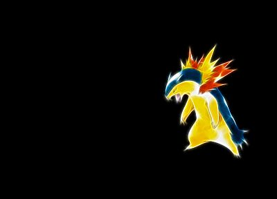 Pokemon, simple background, Typhlosion, black background - desktop wallpaper