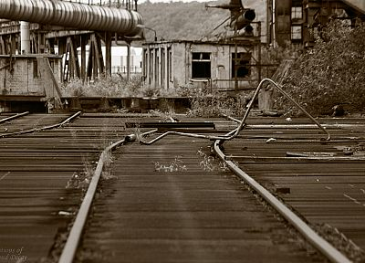 decay, Industrial, railroad tracks - random desktop wallpaper