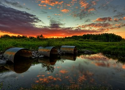 sunset, clouds, landscapes, nature, HDR photography, reflections - desktop wallpaper