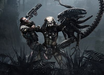 video games, computer graphics, Aliens vs Predator game - desktop wallpaper