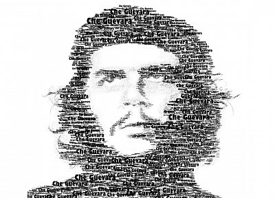 black, white, Che, typography, rebel, Che Guevara, typographic portrait - related desktop wallpaper