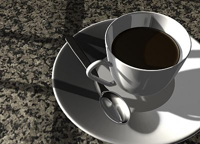 CGI, coffee cups - random desktop wallpaper