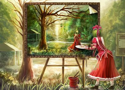 green, paintings, video games, nature, Touhou, trees, dress, long hair, ribbons, green eyes, green hair, red dress, Kagiyama Hina, hair ornaments - related desktop wallpaper