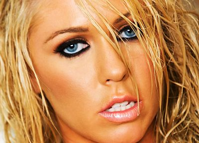 blondes, women, close-up, blue eyes, faces - related desktop wallpaper