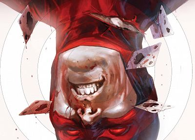 cards, blood, Daredevil, Marvel Comics, playing cards, upside down - desktop wallpaper