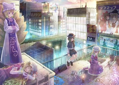 brunettes, blondes, sunset, Touhou, cityscapes, dress, long hair, Cirno, buildings, Izayoi Sakuya, fairies, blue hair, Konpaku Youmu, Miko, magic, short hair, yellow eyes, Kirisame Marisa, Hakurei Reimu, advertisement, Yakumo Yukari, bows, sleeping, sitti - related desktop wallpaper