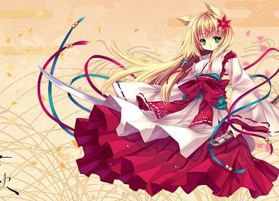 blondes, dress, flowers, katana, long hair, ribbons, weapons, green eyes, animal ears, Miko, bows, flower petals, Japanese clothes, Capura Lin, swords, hair ornaments, kitsunemimi, original characters - desktop wallpaper