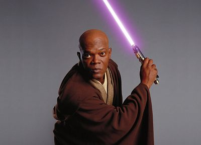 Star Wars, lightsabers, Samuel L. Jackson - random desktop wallpaper