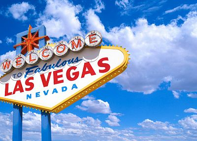 clouds, signs, Las Vegas, blue skies - desktop wallpaper