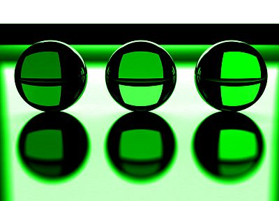 green, three, crystal ball - random desktop wallpaper