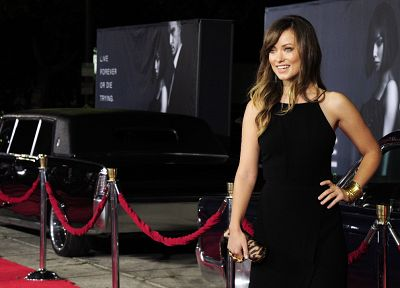 women, cars, Olivia Wilde, black dress, bracelets - desktop wallpaper