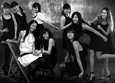 women, Girls Generation SNSD, celebrity, high heels, grayscale, monochrome, K-Pop - desktop wallpaper