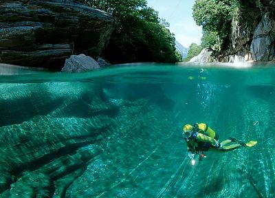 water, valleys, transparent, Switzerland, rivers, scuba diving - desktop wallpaper