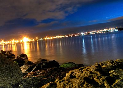 water, landscapes, night, lights, bridges, cities, city night, sea - desktop wallpaper