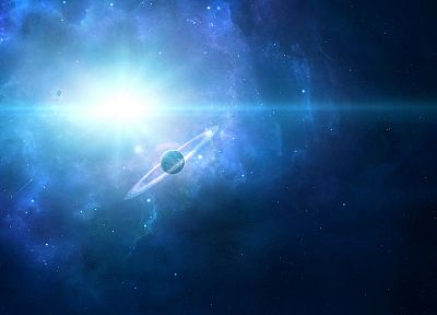 outer space, stars, planets, nebulae, rings - desktop wallpaper