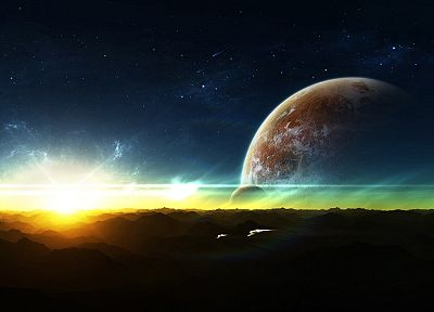 sunset, outer space, stars, planets, spaceships - random desktop wallpaper