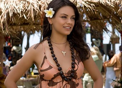 women, Mila Kunis, actress, celebrity, necklaces, Forgetting Sarah Marshall, plumeria - desktop wallpaper