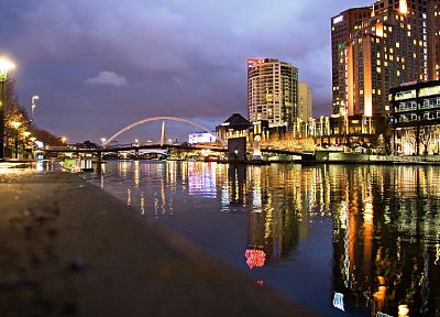 cityscapes, night, buildings, rivers - related desktop wallpaper