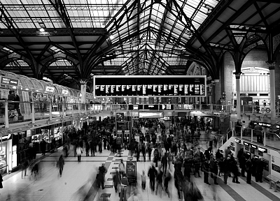 train stations, monochrome - desktop wallpaper