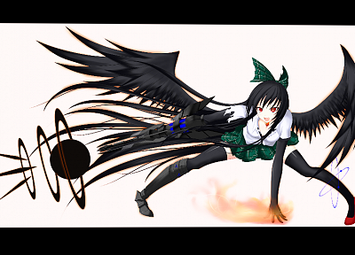 brunettes, video games, Touhou, wings, fire, weapons, red eyes, Reiuji Utsuho, anime girls, Gmot - related desktop wallpaper