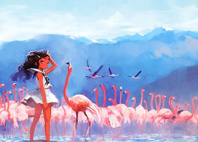 flamingos, anime - related desktop wallpaper