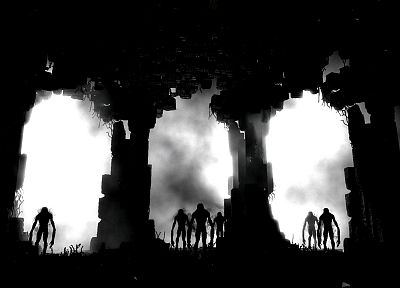 creepy, silhouettes, monochrome, Metro 2033 - desktop wallpaper