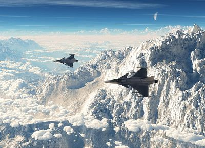 mountains, clouds, aircraft, fighter jets - random desktop wallpaper