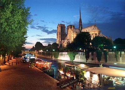 Paris, landscapes, night, lights, architecture, ships, churches, Notre Dame, rivers, Seine - related desktop wallpaper