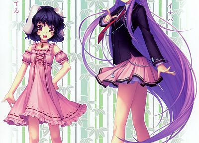 brunettes, video games, lolitas, Touhou, dress, text, leaves, school uniforms, schoolgirls, tie, bamboo, skirts, long hair, ribbons, socks, bunny girls, jackets, barefoot, purple hair, animal ears, carrots, short hair, Reisen Udongein Inaba, Imperishable  - related desktop wallpaper