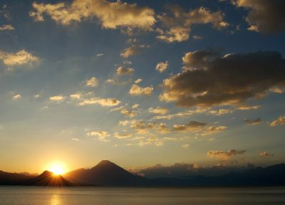 sunset, mountains, clouds, skyscapes, sea - related desktop wallpaper