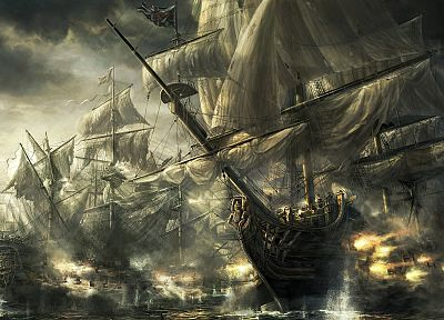 ocean, war, ships, cannons, battles, artwork, Radojavor, sails - random desktop wallpaper
