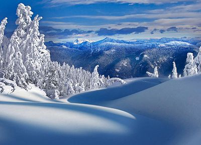mountains, nature, winter, snow, trees - random desktop wallpaper