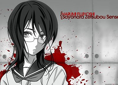 Sayonara Zetsubou Sensei, blood, school uniforms, glasses, monochrome, meganekko, Fujiyoshi Harumi, anime girls, sailor uniforms - desktop wallpaper