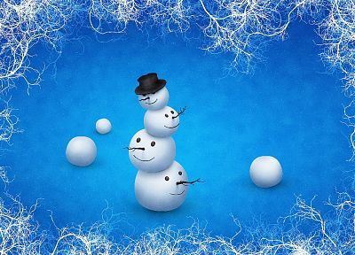 winter, snowmen, vladstudio - desktop wallpaper