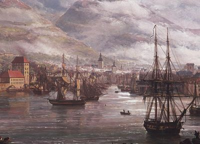 artwork, Johan Christian Dahl, View of Bergen from the Water - random desktop wallpaper