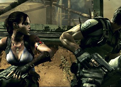 Resident Evil, Shiva, Chris Redfield, Sheva Alomar - random desktop wallpaper