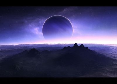mountains, outer space, stars, planets, purple, wastelands, science fiction - related desktop wallpaper