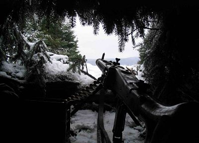 winter, snow, machine gun, mg42, mg3, machinegun - random desktop wallpaper