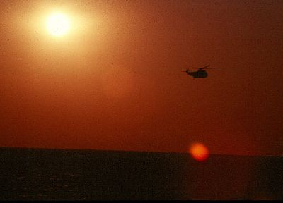sunset, helicopters, navy, vehicles - desktop wallpaper