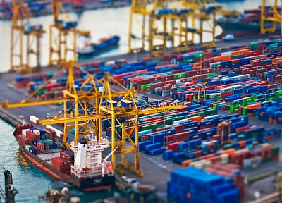 ships, tilt-shift, vehicles, Shipping Containers - desktop wallpaper