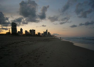 sunset, paradise, Australia, Gold Coast, beaches - desktop wallpaper
