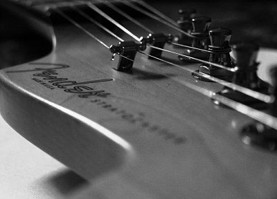 Fender, grayscale, guitars, monochrome, macro, Fender Stratocaster - desktop wallpaper