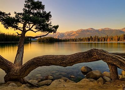 mountains, landscapes, nature, trees, lakes - desktop wallpaper