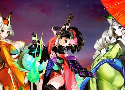 video games, clouds, dress, flowers, blue eyes, leaves, katana, cleavage, long hair, weapons, brown eyes, kimono, lanterns, armor, animal ears, short hair, Momohime, red dress, umbrellas, white hair, orange eyes, Japanese clothes, anime girls, Oboro Muram - related desktop wallpaper