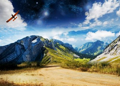 mountains, landscapes, artwork - related desktop wallpaper