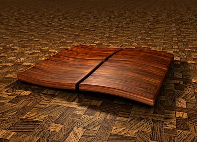 wood, Microsoft Windows, logos, 3D - related desktop wallpaper